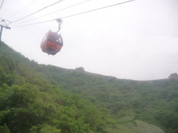 cable car up to the wall at Mutianyu