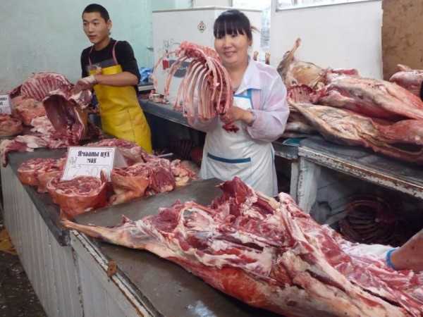 Meat market in the Black market in Ulan Batar